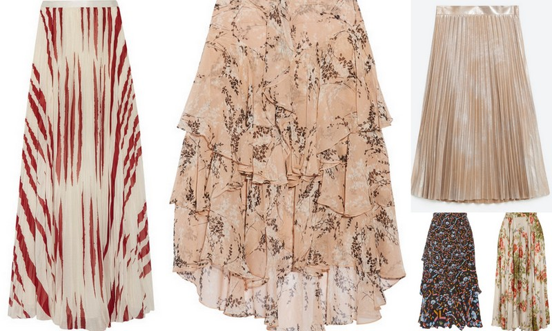 31bc50d6 from left: Maxi skirt in cream and claret skirt, $695, Tory Burch; peach floral  print ruffled skirt, $895, Jason Wu; (top) silver metallic pleated skirt,  ...